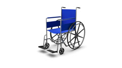 Stock Video Footage of  Dolly back diagonally from single Wheelchair revealing many Wheelchairs