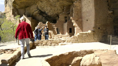 Tourists walking through Mesa Verde ruins-HD-P-1773 Stock Footage