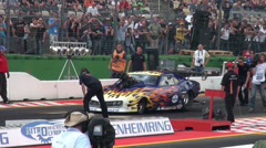 Flamed paintwork by Drag Racing motor sports at Hockenheimring Stock Footage