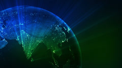Spinning Earth with shinning city lights. Loopable. Green/blue. Close-up. Stock Footage
