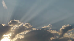 Heavenly clouds with sun rays Stock Footage