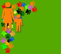 Orange silhouette of mother and child on green background Stock Illustration