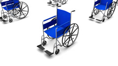 Stock Video Footage of High angle arc pull back revealing endless Wheelchairs