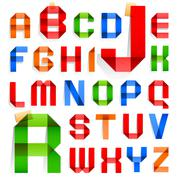 Font folded from colored paper -  alphabet Stock Illustration