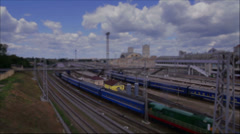 The toy railway (tilt-shift) Stock Footage