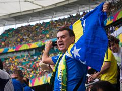 Bosnia and Herzegovina Fan Celebrating Victory Against Iran at World Cup Match Stock Photos