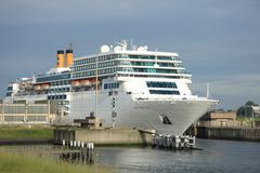 ijmuiden, the netherlands, costa neo romantica leaving dock on journey to the - stock photo