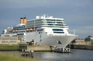 Stock Photo of ijmuiden, the netherlands, costa neo romantica leaving dock on journey to the