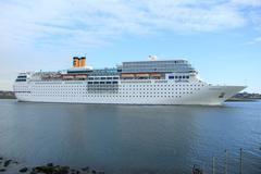 ijmuiden, the netherlands,  june 13rd, 2014: costa neo romantica on north sea - stock photo