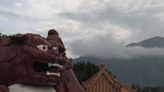 Sun Moon Lake Wenwu Temple red lion in Taiwan Stock Footage