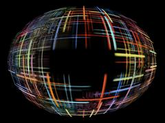 abstract multicolored globe shape on black background with empty space inside - stock illustration
