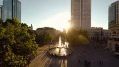 commuters. people person. city cityscape. sunset scenery . aerial view - stock footage