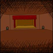 empty room with stage - stock illustration