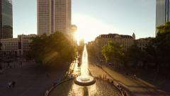 commuters. people person. urban city cityscape. sunset. aerial view - stock footage