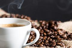 steaming coffee - stock photo