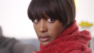 Stock Video Footage of Sultry black woman wearing red blanket