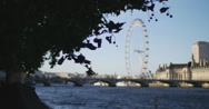 Stock Video Footage of The London Eye and Thames rack focus 4K