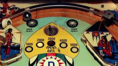 Vintage Pinball Montage of hammer pull, bumpers, spinner & bonuses Stock Footage