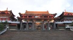Night View from Sun Moon Lake Wenwu Temple in Taiwan Stock Footage