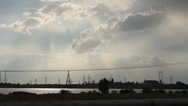 Stock Video Footage of Atomic power plant, Background Electric Poles farm