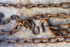 Stock Photo of strong solid rusty chain