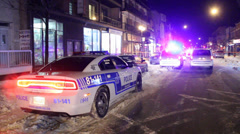 Police car Dodge Charger at night on snow Stock Footage