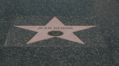 Stock Video Footage of USA Hollywood walk of fame - Jean Renoir star