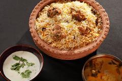 mutton gosht biryani - a rice preparation with mutton and spices - stock photo
