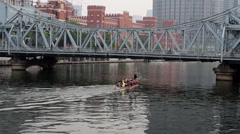 Dragon boat training on a river Stock Footage