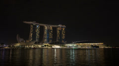 Time lapse of laser light show at Marina Bay Sands Hotel by Singapore River Stock Footage
