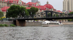 Cruise boat sightseeing in city Stock Footage