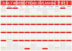 Daily monthly yearly planning chart year 2015 Stock Illustration