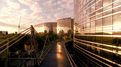 Luxury glass buildings. helicopter fly over. modern architecture Stock Footage