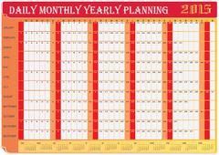 Planning chart of all daily monthly yearly 2015 Stock Illustration