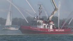 Toronto fire boat William Lyon Mackenzie on display spraying water Stock Footage