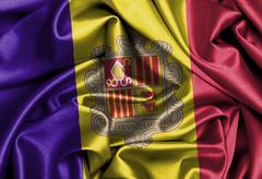 satin Andorra flag - stock photo
