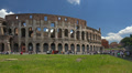 Italy, Rome, Colosseum on sunny day. Panning right to left. Footage