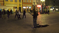 Street male guitarist Stock Footage