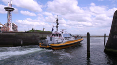 Pilot boat in the port. Stock Footage