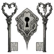 Scratched Keys and Keyhole - stock illustration