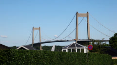 Huge road bridge with cars - seen from the town of Middelfart Stock Footage