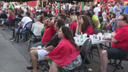 Stock Video Footage of Soccer fans watching the world cup on a patio on Toronto Canada