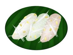 Thai Mung Bean Rice-Crepe on Banana Leaf Container Stock Illustration