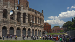 Italy, Rome, Colosseum on sunny day. Panning right to left. Stock Footage