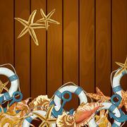 Summer Card with Sea Shells, Anchor, Lifeline Stock Illustration
