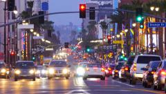Night street city urban traffic on Hollywood Blvd in Los Angeles. Timelapse. - stock footage