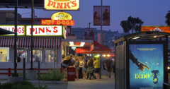 People standing in line at Pinks hot dogs stand. Los Angeles, CA. 4K timelapse. Stock Footage