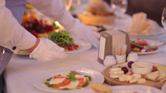 Waiter Serves  Banquet Table Stock Footage