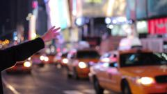 Hailing a Yellow Cab - Times Square Stock Footage