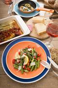 Variety of Mediterranean low carb dishes - stock photo